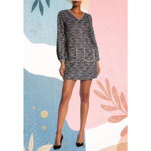 Max Studio Long Sleeve Tweed Knit Dress Large